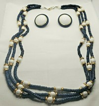 Fashion 3 Strand Blue White Bead Gold-tone Necklace & Pierced Earrings S... - $14.24