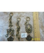 #purse jewelry bronze color keychain backpack filigree charms lot of 3 f... - $8.22