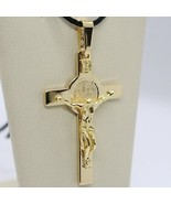 18K YELLOW GOLD BIG CROSS WITH JESUS & SAINT BENEDICT MEDAL MADE IN ITALY, 44 mm - $599.00