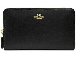 COACH Continental Zip Around Wallet in Refined Leather ~NWT~ Black 39738 - $193.05