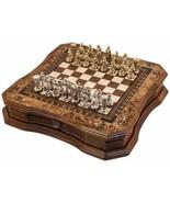 "Handmade Chess Set Mosaic Art 15"" - Wooden Chess Board with Metal Chess ... - $345.51"