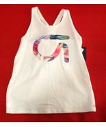 Gap Kids Girls Tank 14 16 White Active Fit Floral Logo Graphic Racer Cro... - $14.84