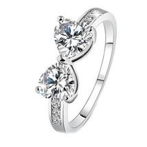 New Trendy Silver Plated Elegant Finger Bow Crystal Ring Ladies Engaged ... - $14.36