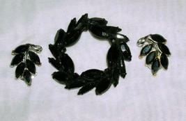Vintage Black Leaf Brooch Pin & Clip On Earrings - $19.59