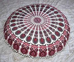 Traditional Jaipur Peacock Feather Mandala Floor Cushion, Decorative Throw Pillo - $19.79