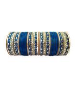 Ethnic Indian Bridal Engagement & Wedding Blue 52 PS Metal Bangles Size ... - $12.18