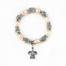 Pink Pearl With Turtle Stretch Bracelet - $20.32