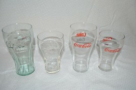 4 VINTAGE COCA COLA COKE GLASSES RED LABEL 75 YEARS ANTIQUE COLLECTIBLE - $19.78