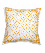 Farmhouse TESS COTTON THROW PILLOW Country White Orange Abstract Cushion... - $36.99