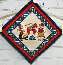 Scandinavian Linen Doily - Dala Horse Boy & Gir... - $24.26