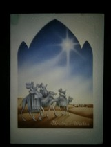 Wise Men Camels Star Vintage Religious Christmas Card - $3.00