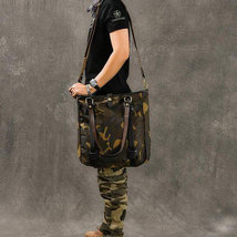Sale, Canvas Men Tote Bag, Camouflage Shoulder Bag, Vintage Men Messenger Bag image 6