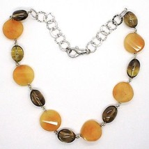 925 Silver Necklace, Brown Jade Disc Wavy, Oval Smoky Quartz image 2