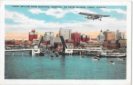 Tampa Skyline frm Municipal Hospital Davis Island Prop Airplane Florida Postcard - $4.99