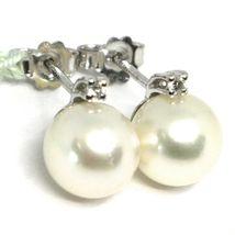 WHITE GOLD EARRINGS 750 18K, PEARLS JAPANESE SALT WATER WHITE, DIAMONDS image 4