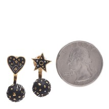 AUTHENTIC CHRISTIAN DIOR Metal Star Heart Earrings Black Gold image 4