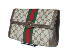 GUCCI Sherry Line GG Web PVC Canvas Leather Browns Clutch Bag GP2266 - $259.00