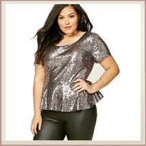Silver Sequin Scoop Neck Short Sleeve Flare Victorian Waist Long Plus Size Top