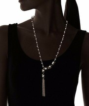 New USA Made Gemelli Beaded Pyrite Glam Tassel Necklace NWT image 2