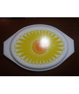 Vintage Pyrex SunflowerYellow Divided Casserole Baking Dish + Lid  1.5 ... - $28.04