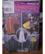 Sewing Pattern Child Sizes 3-8 Renaissance Costumes 5512 UNCUT Renn Faire - $6.99