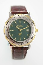 Fossil Watch Men Stainless Steel Silver Gold Leather Brown Date 50m Gree... - $33.46