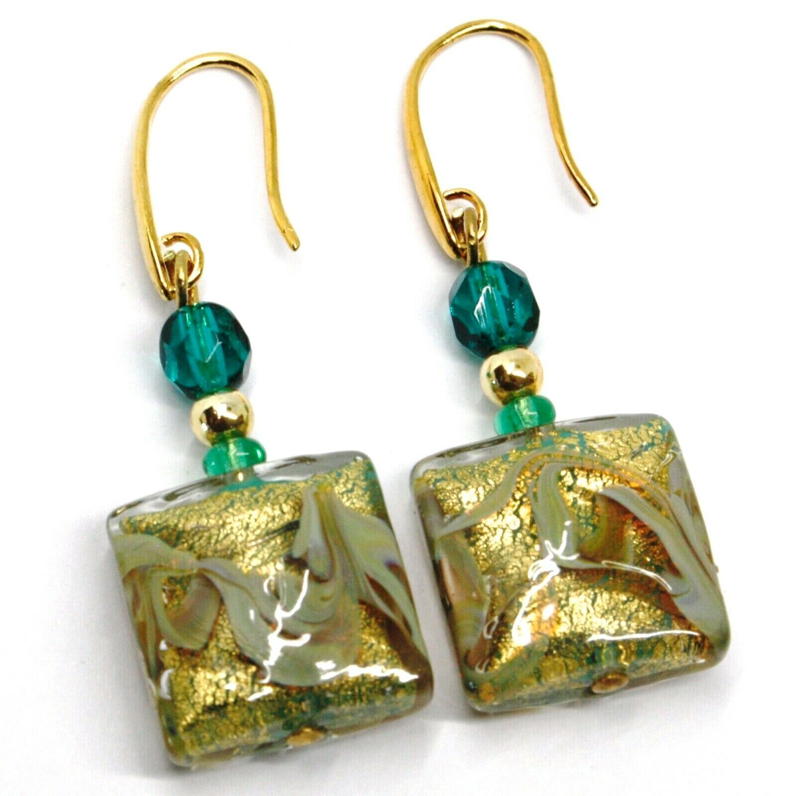 PENDANT EARRINGS WITH GREEN MURANO SQUARE GLASS & GOLD LEAF, MADE IN ITALY, 5cm