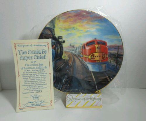 Golden Age American Railroads Plate The Santa Fe Super Chief Authentic