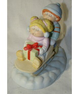 Vtg Cabbage Patch Kids Porcelain Figurine Sled Ride Christmas Xavier Rob... - $6.50