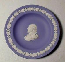 """Wedgwood Jasperware Cream on Blue SHAKESPEARE 4-3/8"""" Round Tray/Pin Dish - $9.00"""