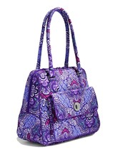 Vera Bradley Signature Cotton Turnlock Satchel Bag, Lilac Tapestry