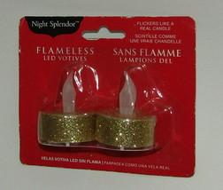 Flameless Gold Tea Light LED Votives Night Splendor Package of 2 New Gli... - $6.92