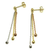 Drop Earrings Yellow Gold Pink White 750 18k, Three Wires, Spheres Faceted - $211.24