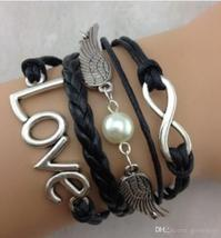 DIY Infinity Charm Antique Cross fashion Leather Bracelets Multilayer Heart Tree image 6