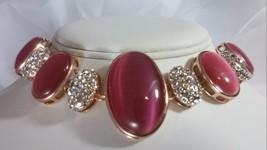 Roberto by RFM Cats Eye & Crystal Station Sterling Silver Bracelet Pink NEW - $67.72