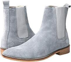 Handmade Men's Gray Suede High Ankle Chelsea Boots image 3