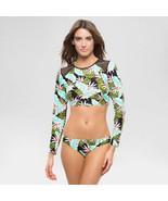 NWT VANILLA BEACH XL tropical green floral Rash guard swimsuit top shirt - $22.31