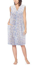 Women's Sleeveless Pearl Snap Button Floral Duster Nightgown Lounger Robe G168 image 8
