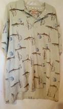 Woolrich Fish/Fishing Pole Print Tan Short Sleeve Knit Polo Shirt  Men's XLT - $18.76
