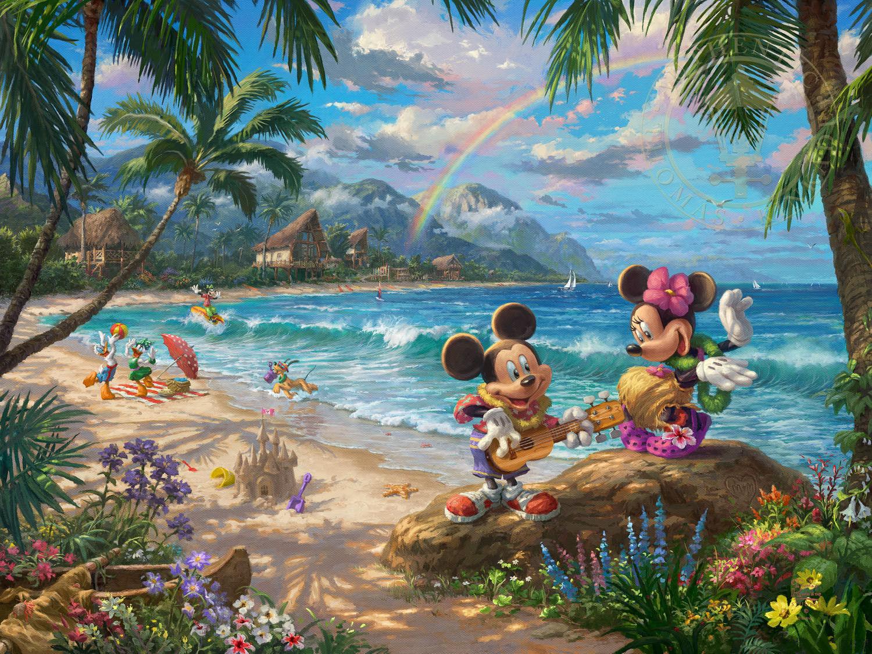 Thomas Kinkade Disney Mickey and Minnie in Hawaii 12 x 16 G/P LE Paper