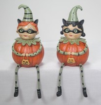Boy & Girl Trick or Treat  Pumpkin Peep Sitters Fall Halloween Tabletop ... - $24.70