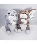 2 Standing Bunny Rabbits Plush Stuffed Animals Gray & Brown Realistic - $20.03