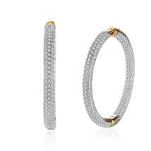 Round Bella Hoop Women Crystal Earrings made with Genuine SWAROVSKI Crys... - $9.79