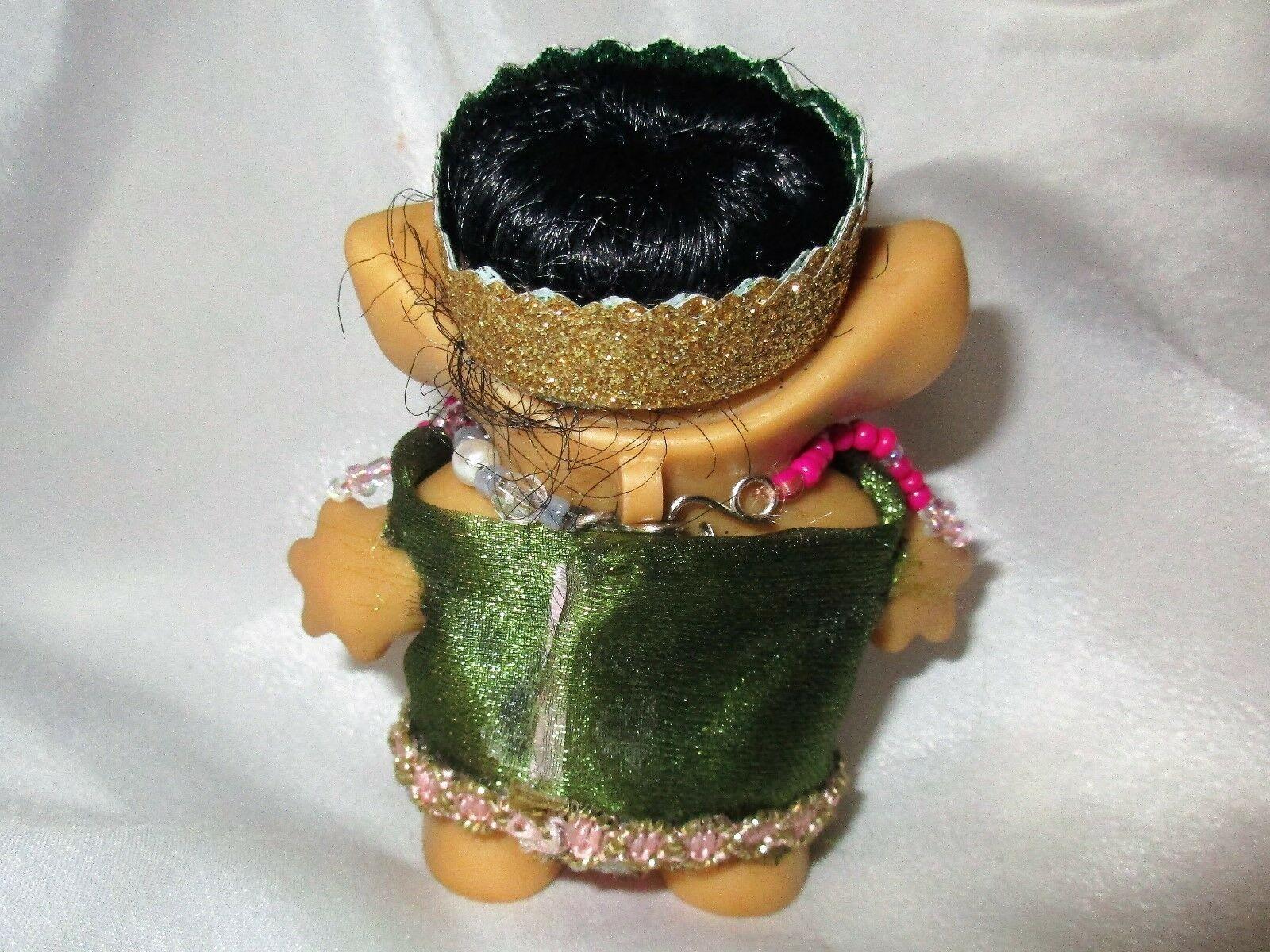 ROOTIE TROLL 3 inch BLACK Hair ooak custom tab doll Vintage 60's Indian Dress