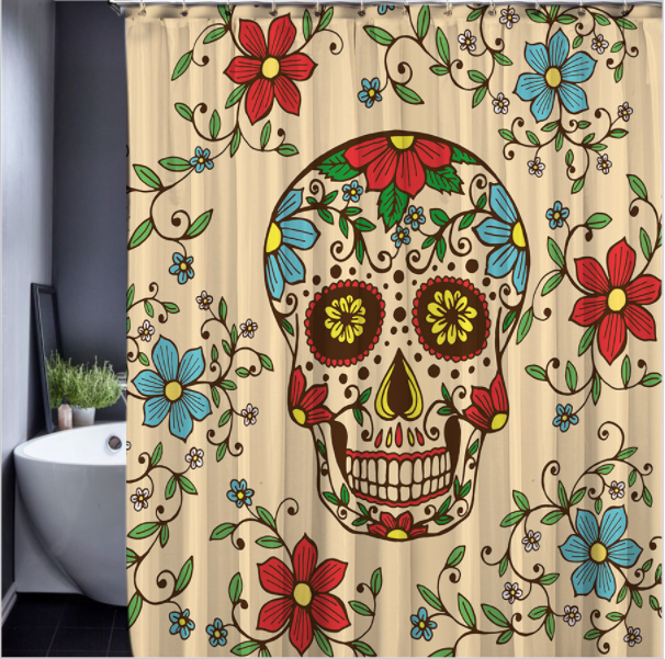 Skull Happy Halloween 145 Shower Curtain Waterproof Polyester Fabric For Bathroo