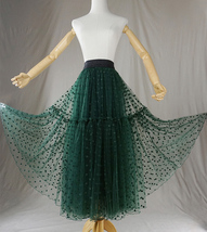DARK GREEN Tutu Skirt Women Midi Tutu Skirt Dark Green Dot Party Skirt Plus Size