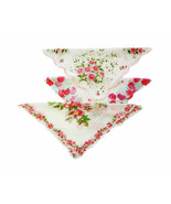 Lot of 3 Flower Power 1940s Vintage Handkerchiefs Red Pinks Yellow Blues... - $31.90