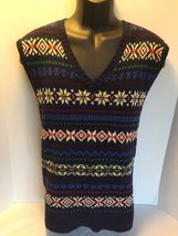 New Polo Ralph Lauren Fair Isle V Neck Silk Cashmere Pullover Sweater Ve... - $35.00
