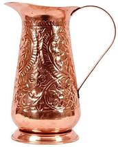 PARIJAT HANDICRAFT Handcrafted Pure Copper Water Pitcher Flower Design E... - $75.70