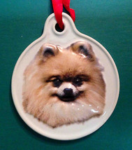 POMERANIAN DOG CHRISTMAS SCULPTED CERAMIC ORNAMENT HOLIDAY Xpres - $8.95